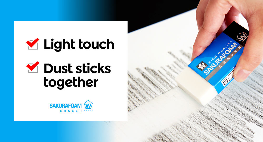 Light touch. Dust sticks together. SAKURAFORM ERASER