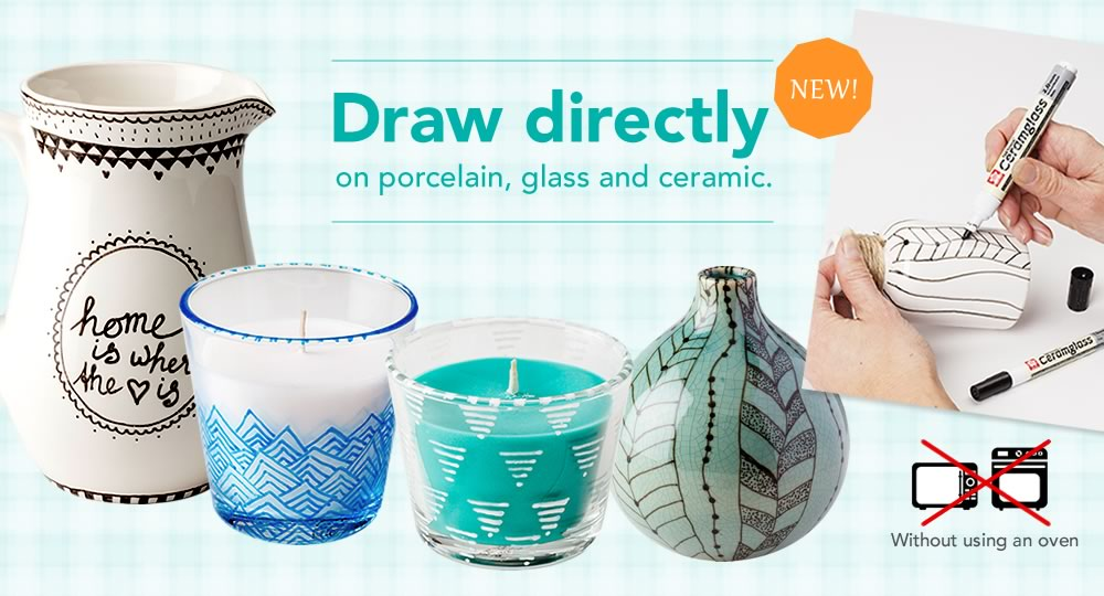 Draw directry on porcelain, glass and ceramic. (Without using an oven)