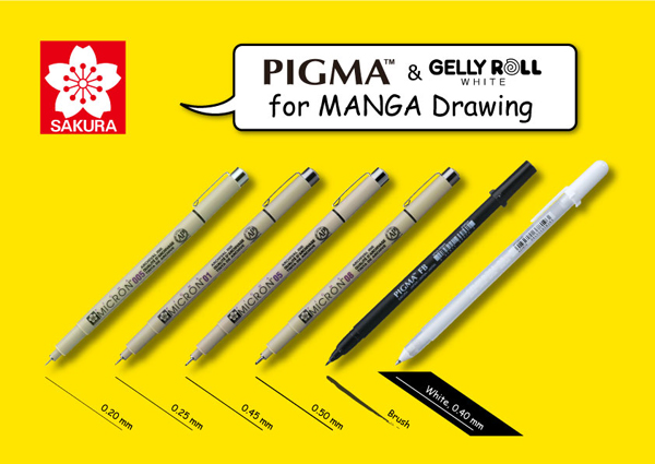 PIGMA & GELLY ROLL WHITE for MANGA Drawing