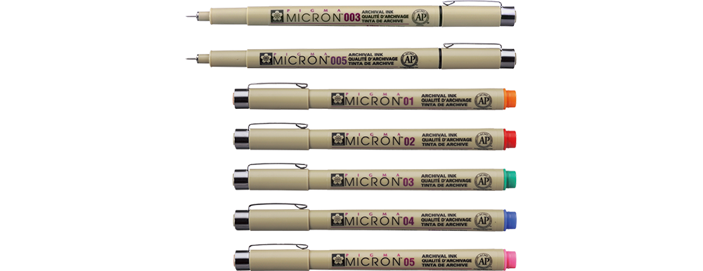 03 Waterproof Fade Resistant BLACK 3 PC 0.35mm Sakura Pigma Micron Pen