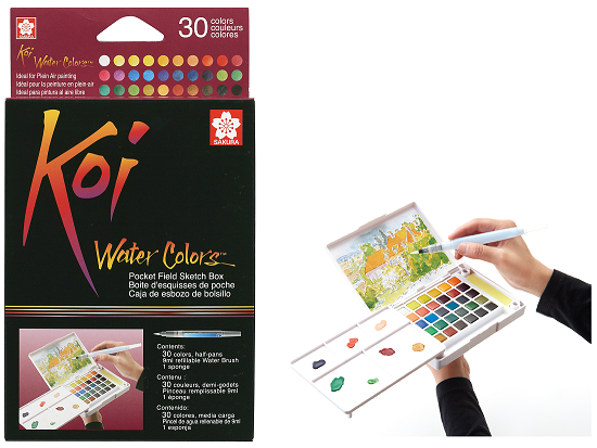 Koi Water Colors Field Sketch Box, 30-color set